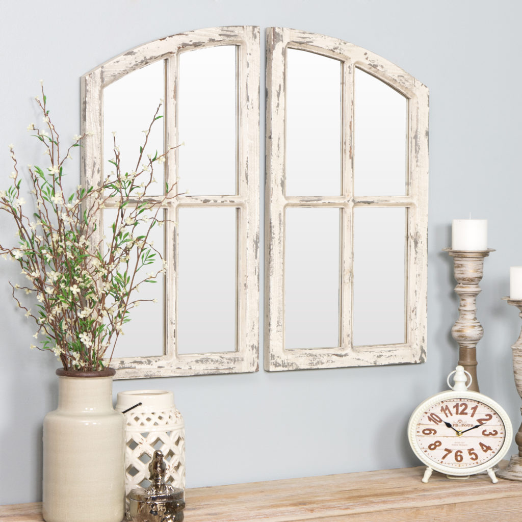 "Jolene Arch Window Pane Mirrors Off-White 27"" x 15"" (Set of 2) by Aspire $91.79"