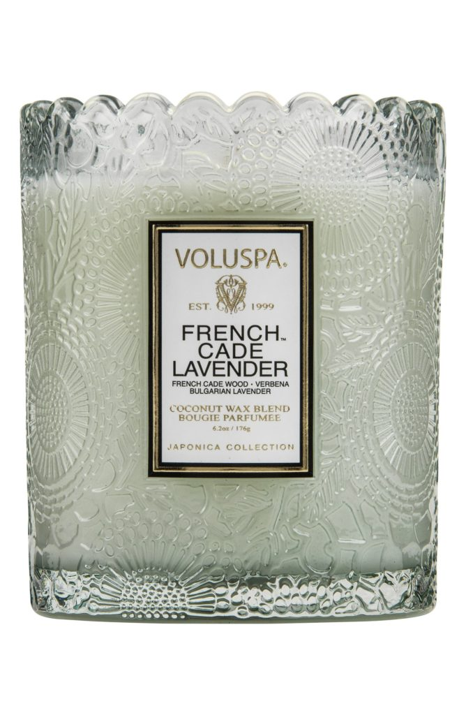 Japonica French Cade Lavender Scalloped Edge Embossed Glass Candle $24.00