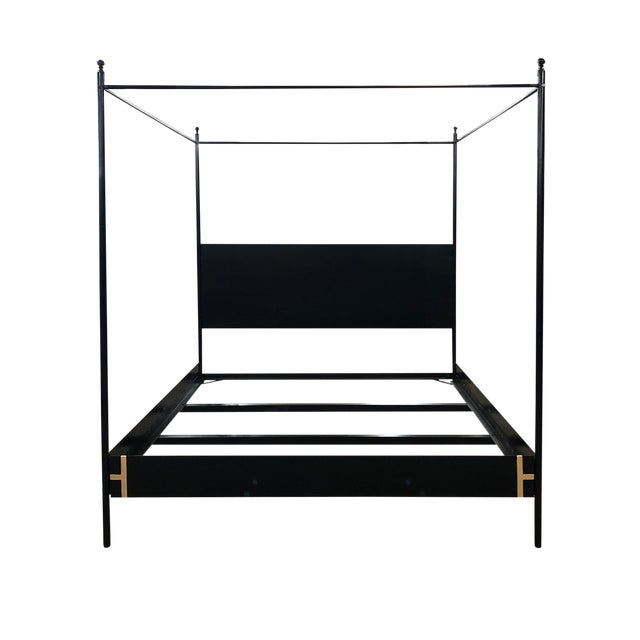 The Josephine Bed-Four Poster Black Iron Canopy Bed, King $3,850