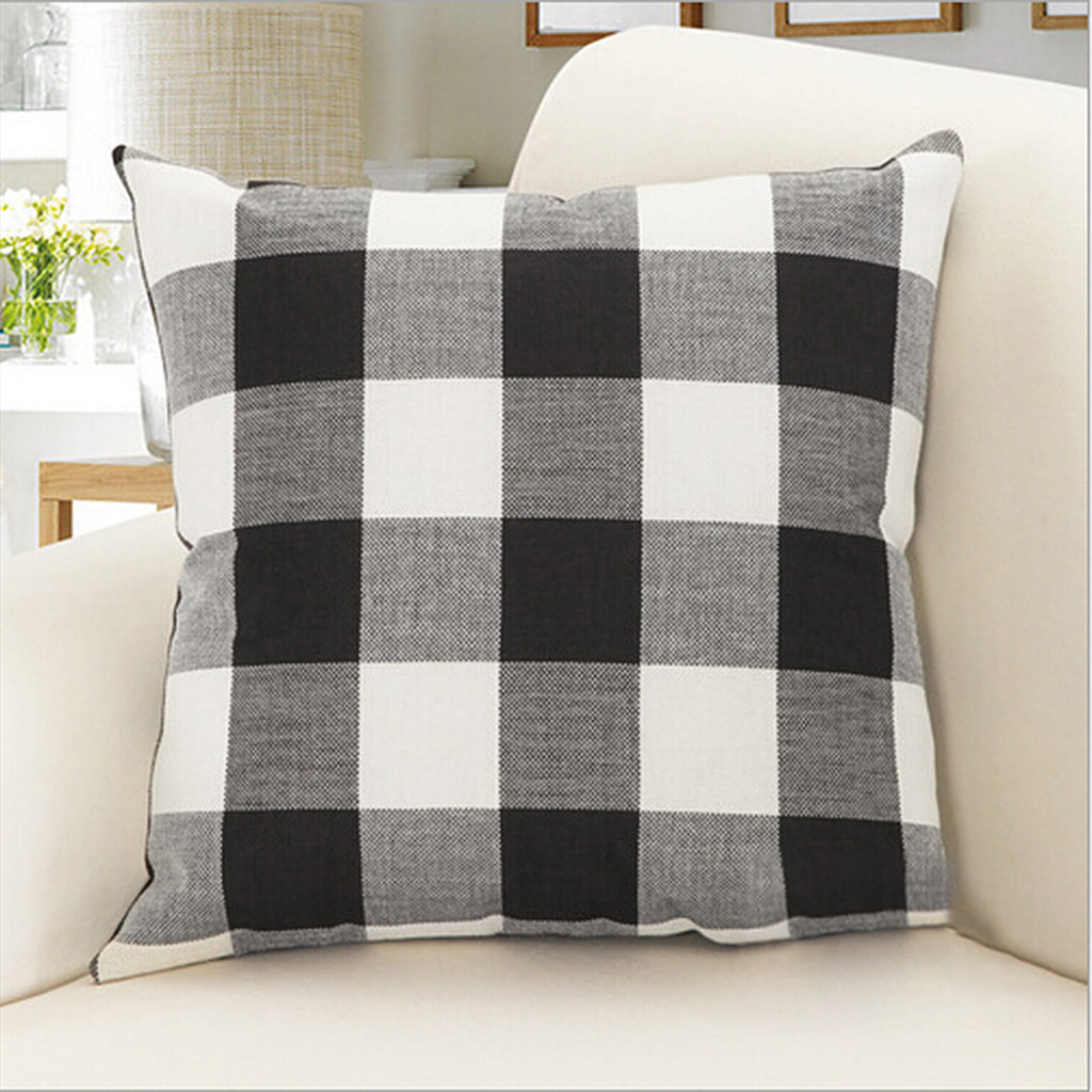 Plaid Pillow Cover Protector Cushion Cover for Home Office Car Decor 17.7'' x 17.7'' $6.99