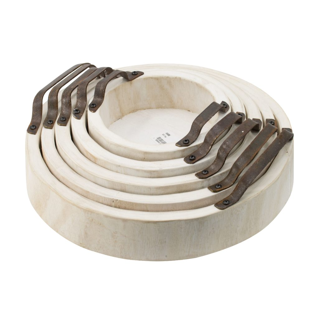 Interlocking Round Paulownia Wood Nesting Trays with Metal Handles - Set of 5 $99.93