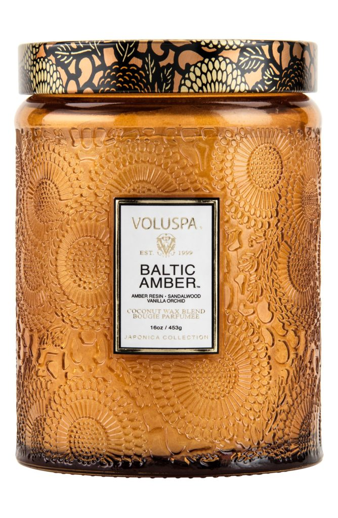 Japonica Baltic Amber Large Embossed Glass Jar Candle $30.00