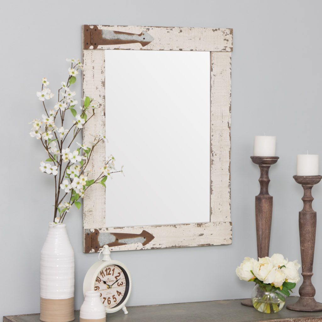 "Serenad Farmhouse Wall Mirror White 30"" x 22"" by Aspire $57.23"