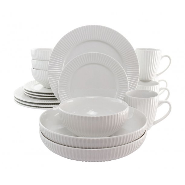 Elama Elle 18 Piece Porcelain Dinnerware Set with 2 Large Serving Bowls in White $39.99