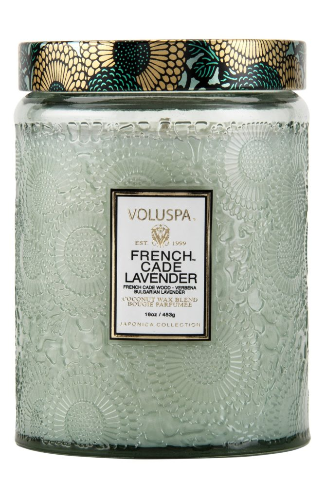 Japonica French Cade Lavender Large Embossed Glass Jar Candle $30.00