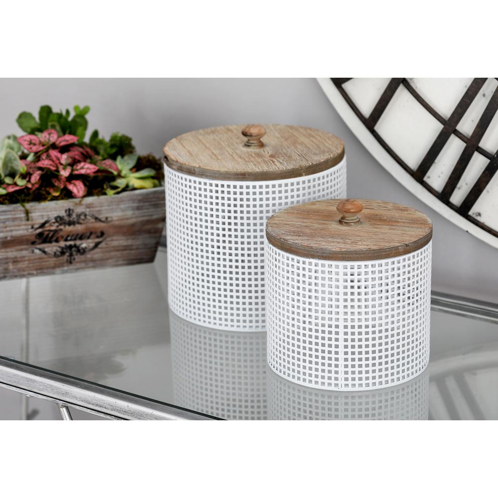 White Iron Mesh Round Canisters with Wooden Lid (Set of 2) $31.05