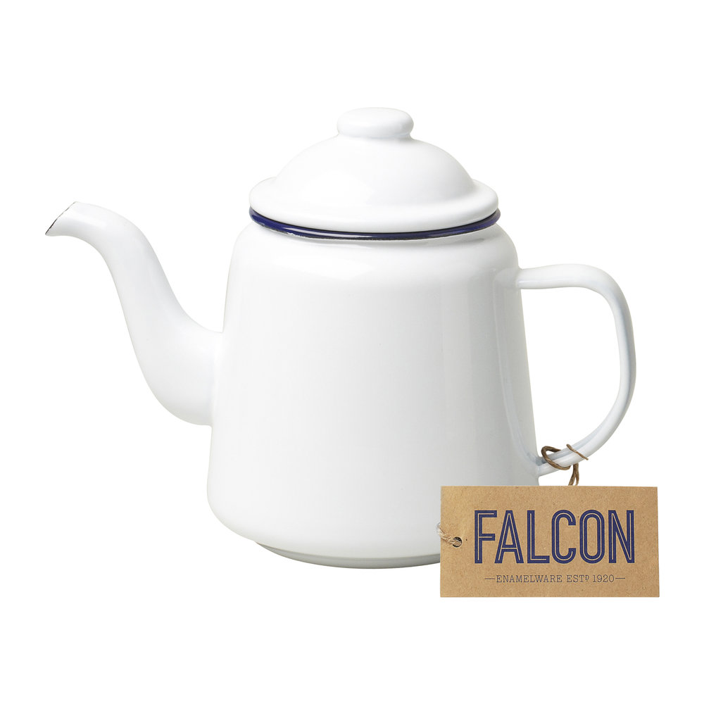 FALCON Teapot - Original White with Blue rim $32