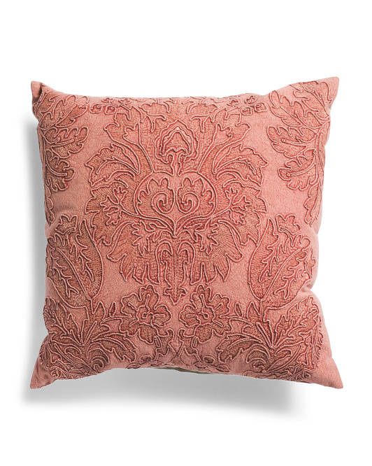 HANDCRAFTED IN INDIA 24x24 Brick Washed Damask Embroidered Pillow$39.99