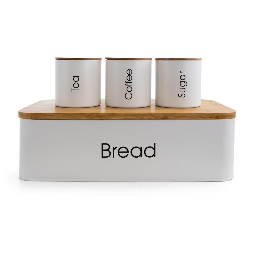 4-Piece Metal Canister Set with Bamboo Cutting Board Lid $39.99