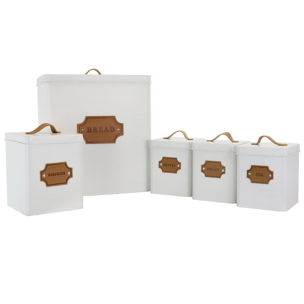 5-Piece Metal Cannister Set with Metal Tops $39.99