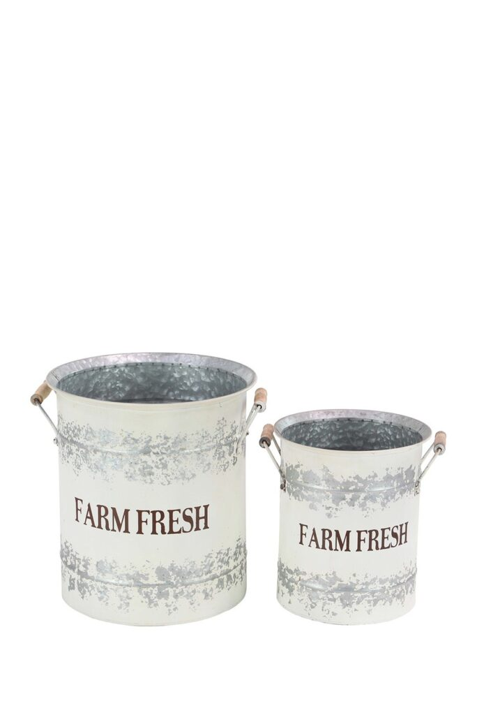 White Farmhouse Distress Pail Planter - Set of 2 $109.97