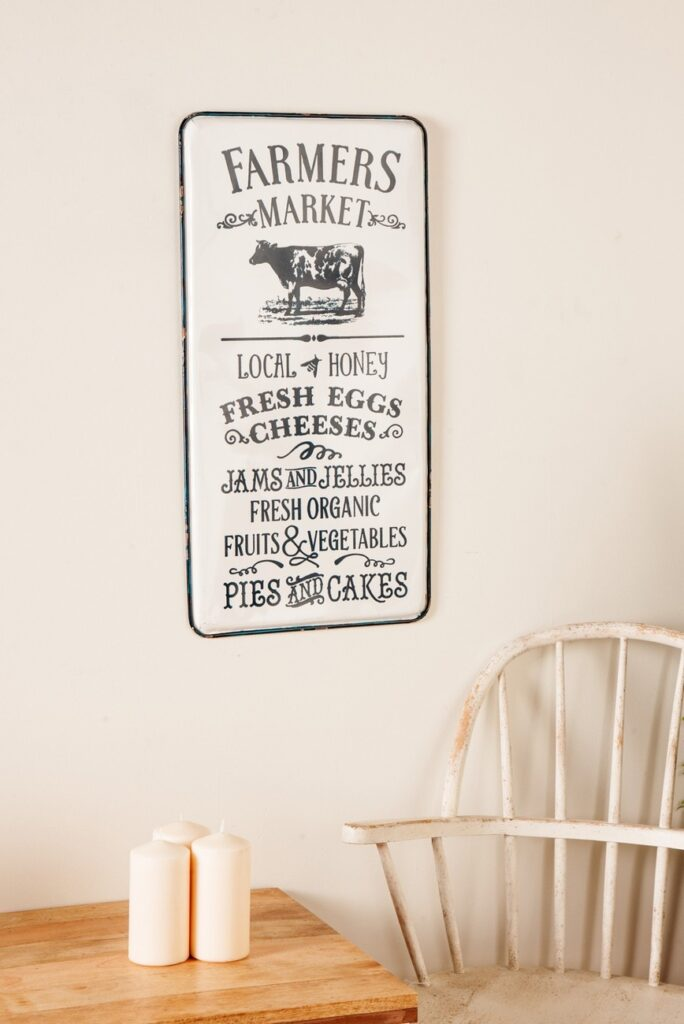 Farmhouse Rectangular Farmer\'s Market Iron Wall Art $49.97