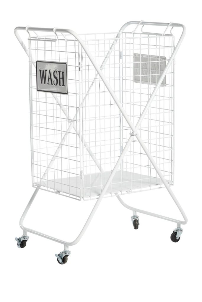 Large White Metal Laundry Wheeled Basket $173.97