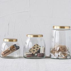 3-Piece Ranch Glass Jars with Brass Lid Set $59.99