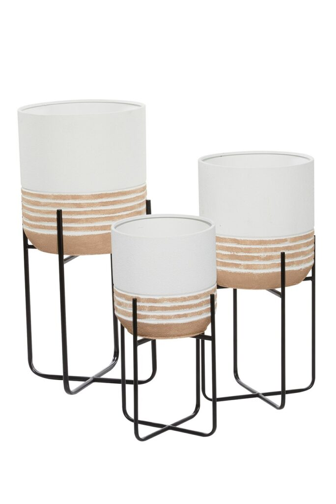 White and Beige Round Metal Planters - Set of 3  $128.97