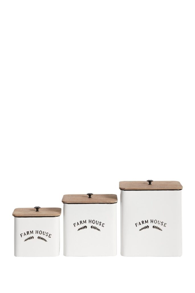 Square Black And White Metal Containers With Natural Wood Lid - Set of 3 $57.97 Square Black And White Metal Containers With Natural Wood Lid - Set of 3