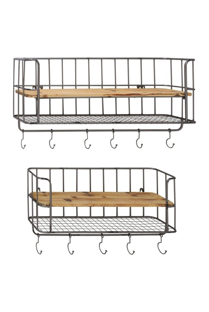 Caged Wire Wood Shelf Wall Hooks - Set of 2 $125.97