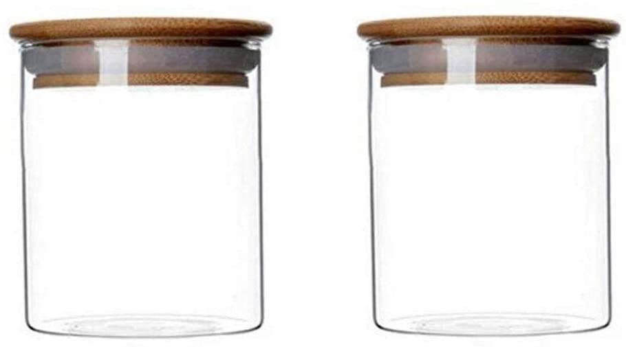 2 Piece Clear Glass Canister Food Storage Jar $12.99