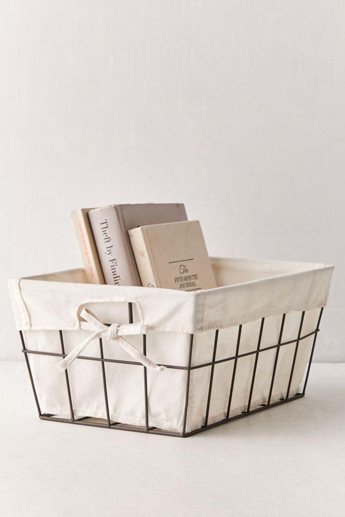 Hadley Lined Metal Storage Basket $14.00