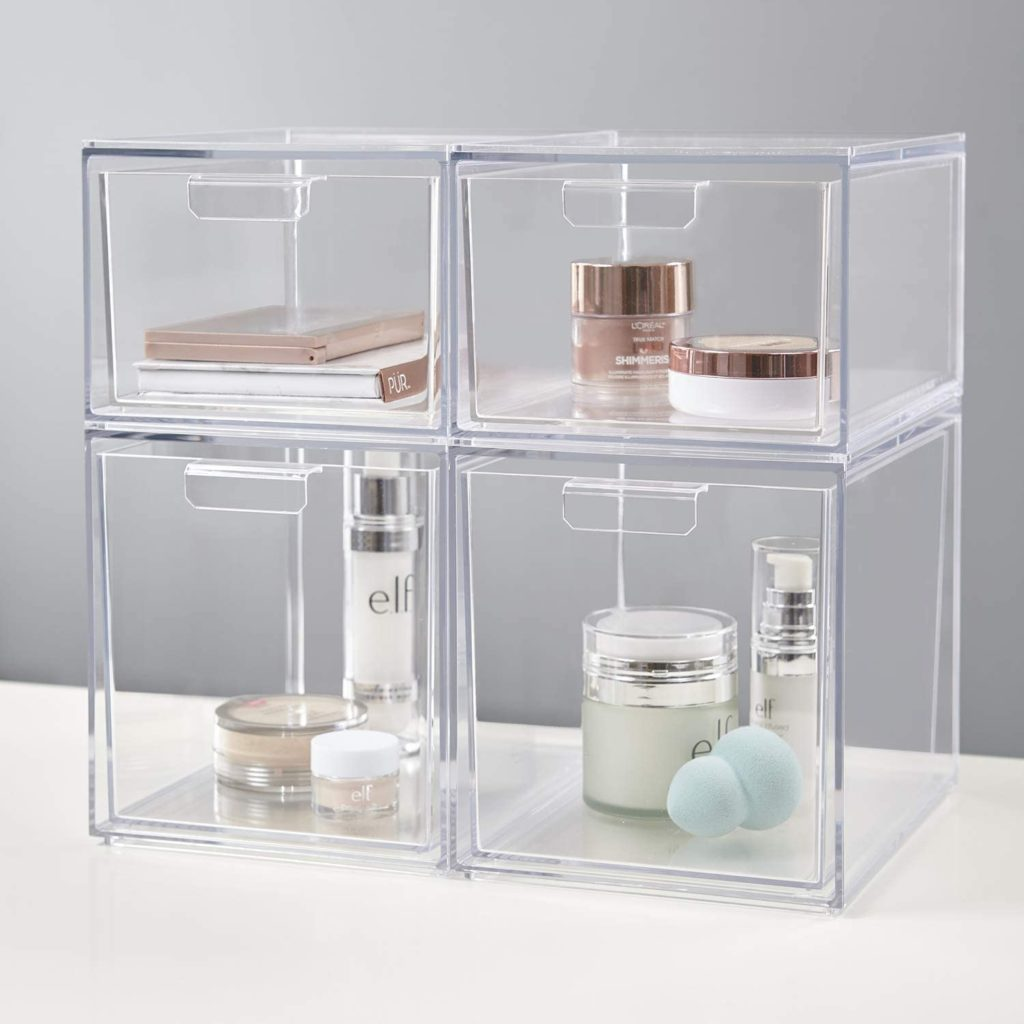 "Audrey Stackable Cosmetic Organizer Drawers 4-1/2"" Tall 