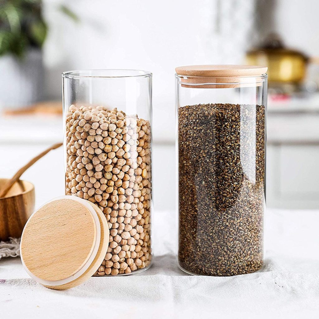 Glass Food Storage Jars Containers with Airtight Bamboo Lids Set of 3 $24.99https://amzn.to/2XmwEjM