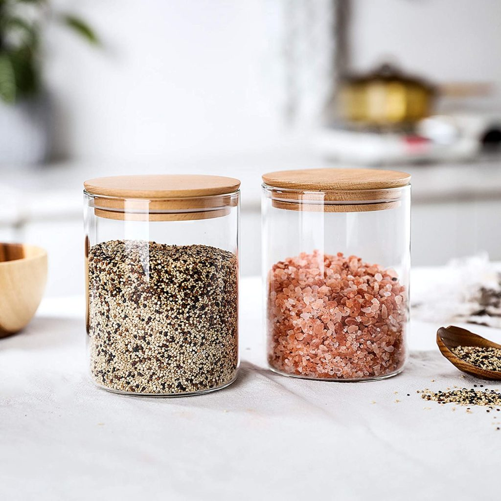 Clear Glass Storage Jar With Beech Wood Lid Set of 2 $19.99
