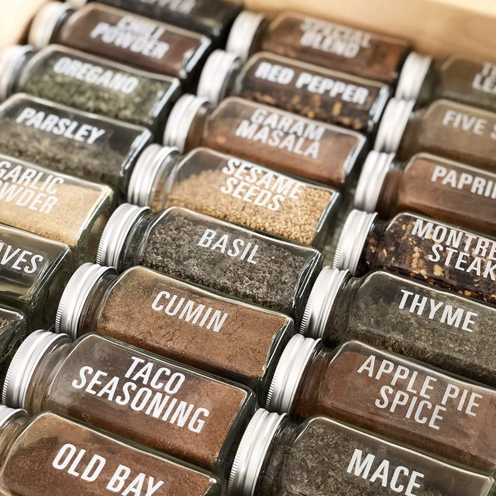 134 White All Caps Spice Label Set: 134 Spice Names + Numbers $11.95