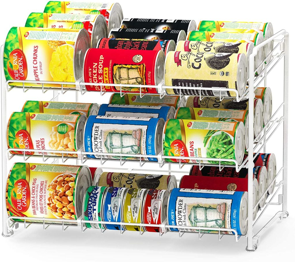 SimpleHouseware Stackable Can Rack Organizer, White $23.87 https://amzn.to/3i3DbIm