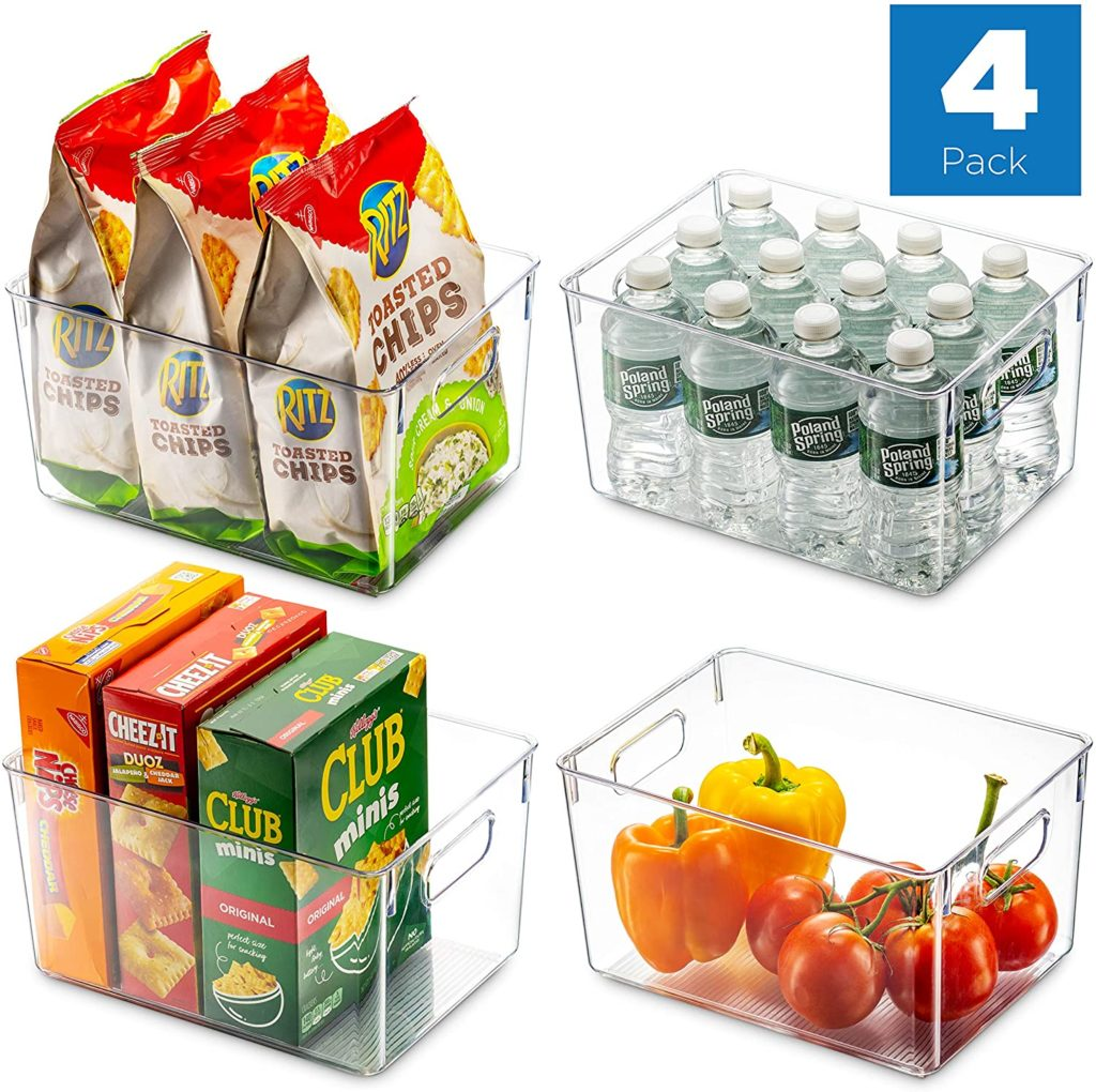 Set Of 4 Clear Pantry Organizer Bins Household Plastic Food Storage Basket $24.99 https://amzn.to/2XmWaFF