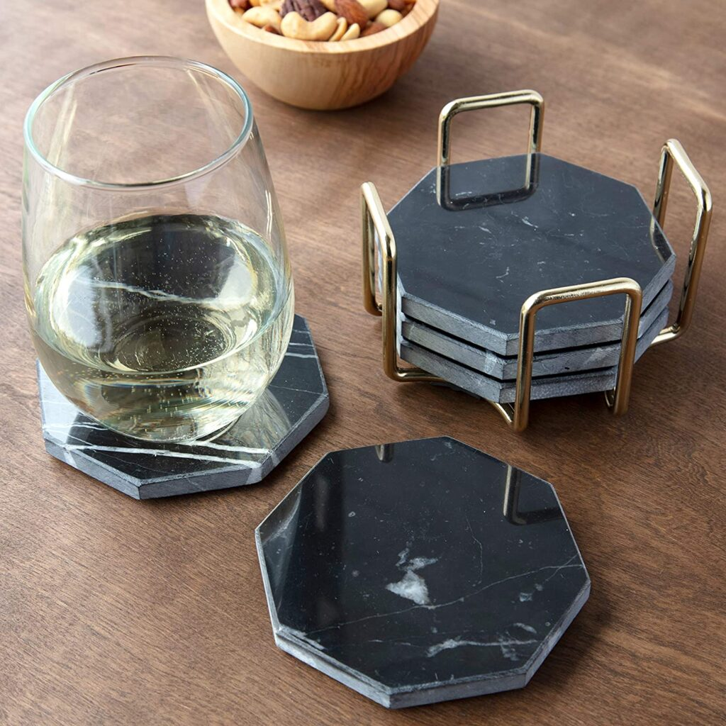 Black Marble Coasters with Gold Holder- Set of 5 $19.95