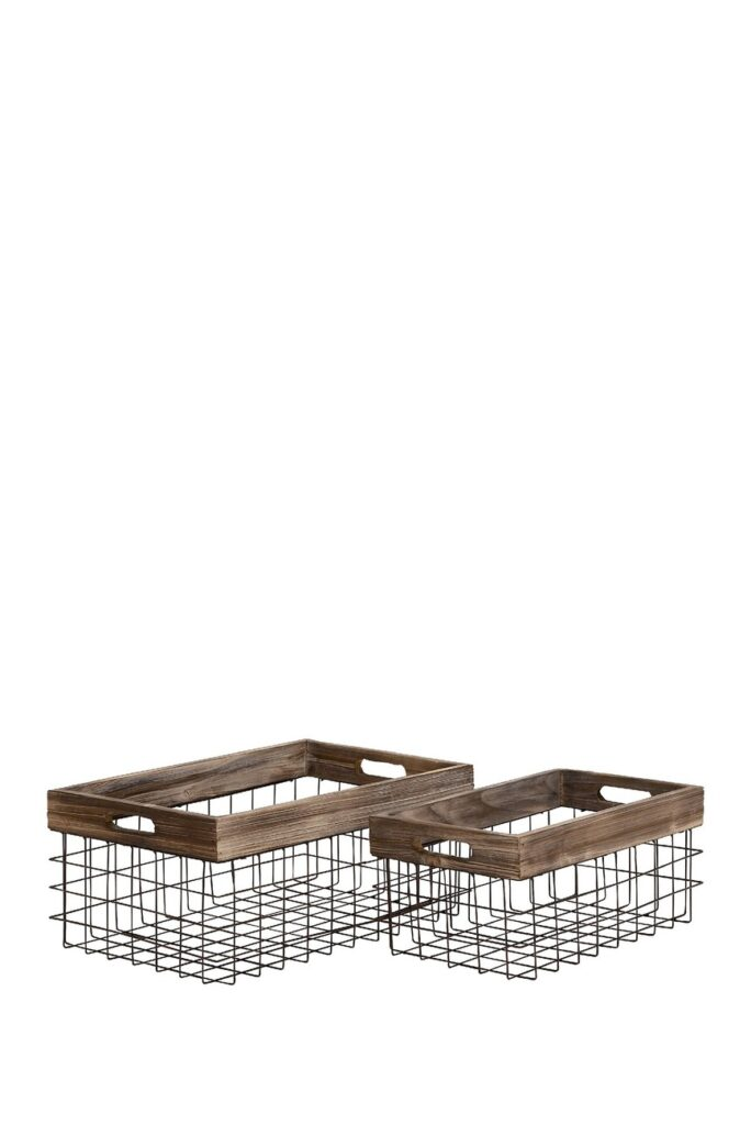 Iron/Fir Farmhouse Baskets - Set of 2 $63.97