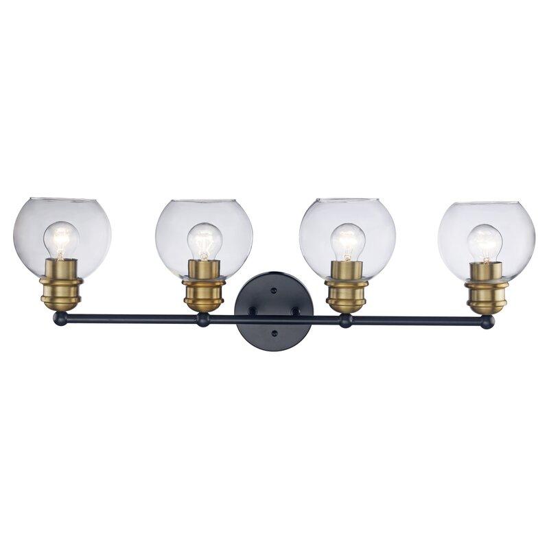Rhett 4-Light Black/Antique Gold Vanity Light $126.99