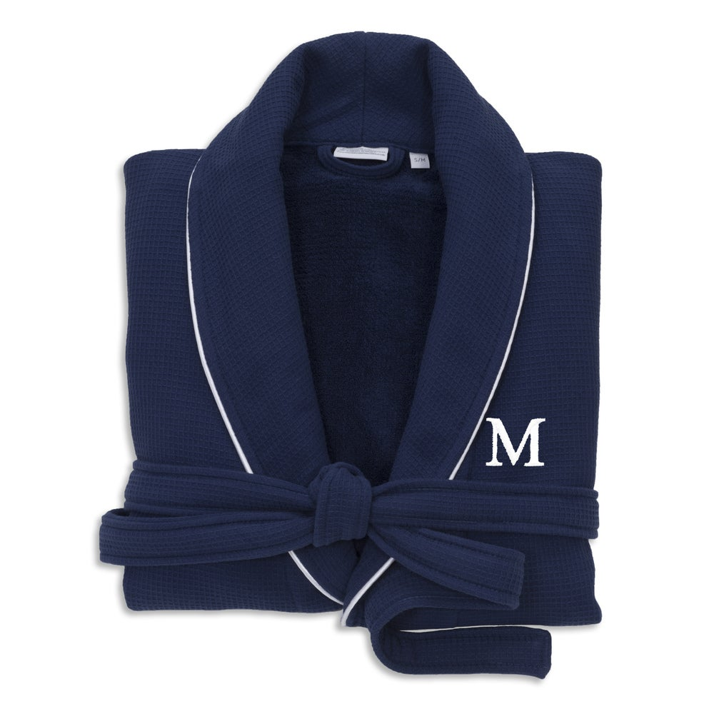 Blue Unisex Turkish Cotton Waffle Weave Terry Bath Robe with White Block Monogram $96.49