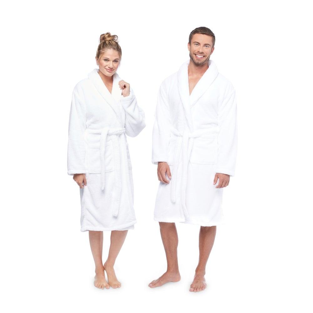 Authentic Hotel and Spa Unisex Microfiber White Bath Robe $55.49
