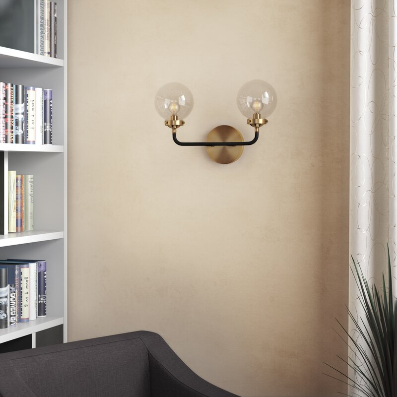 Claudio 2 - Light Dimmable Brass Gold/Black Armed Sconce $141.99