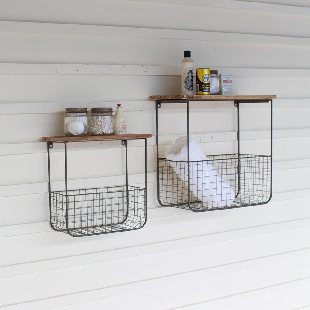 Set Of 2 Wire Basket Shelves With Recycled Wood Tops $117.95