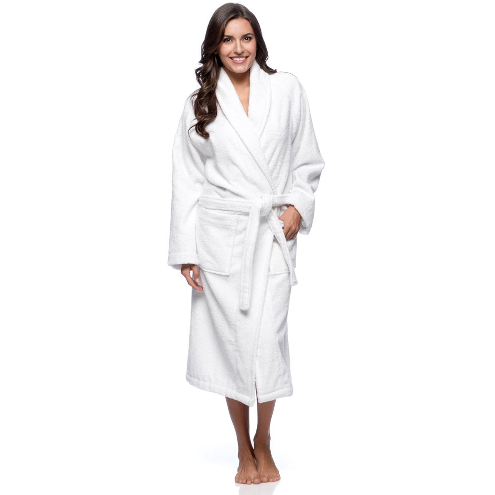 White Turkish Cotton Towel Terry Unisex Bath Robe with 2 Pockets $43.99