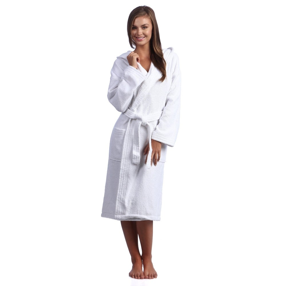 Classic Turkish Cotton White Hooded Kimono Terry Cloth Bathrobe with 2 Pockets $35.49