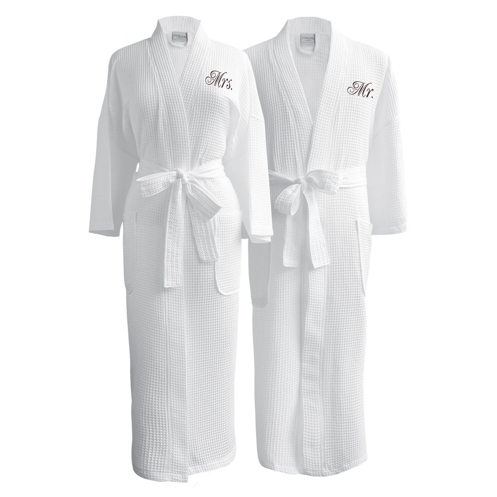 Conrad Egyptian Cotton Mr. and Mrs. Waffle Spa Robe Set $82.49