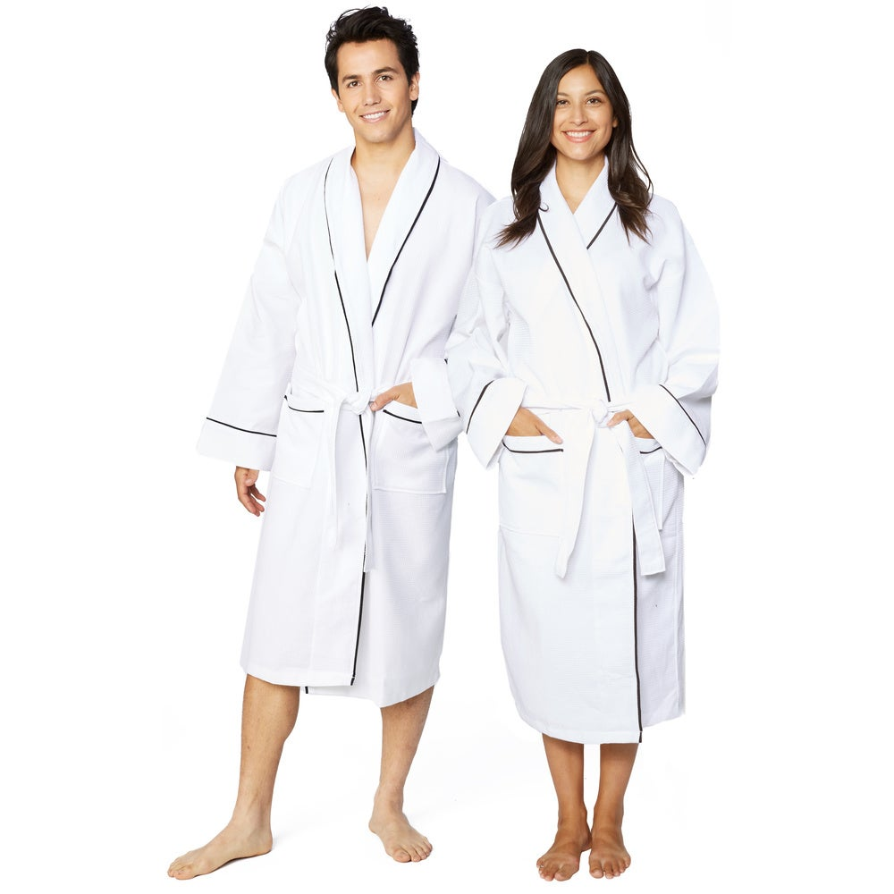 Cotton Unisex Waffle Weave Bath Robe with Stylish Piping $28.99