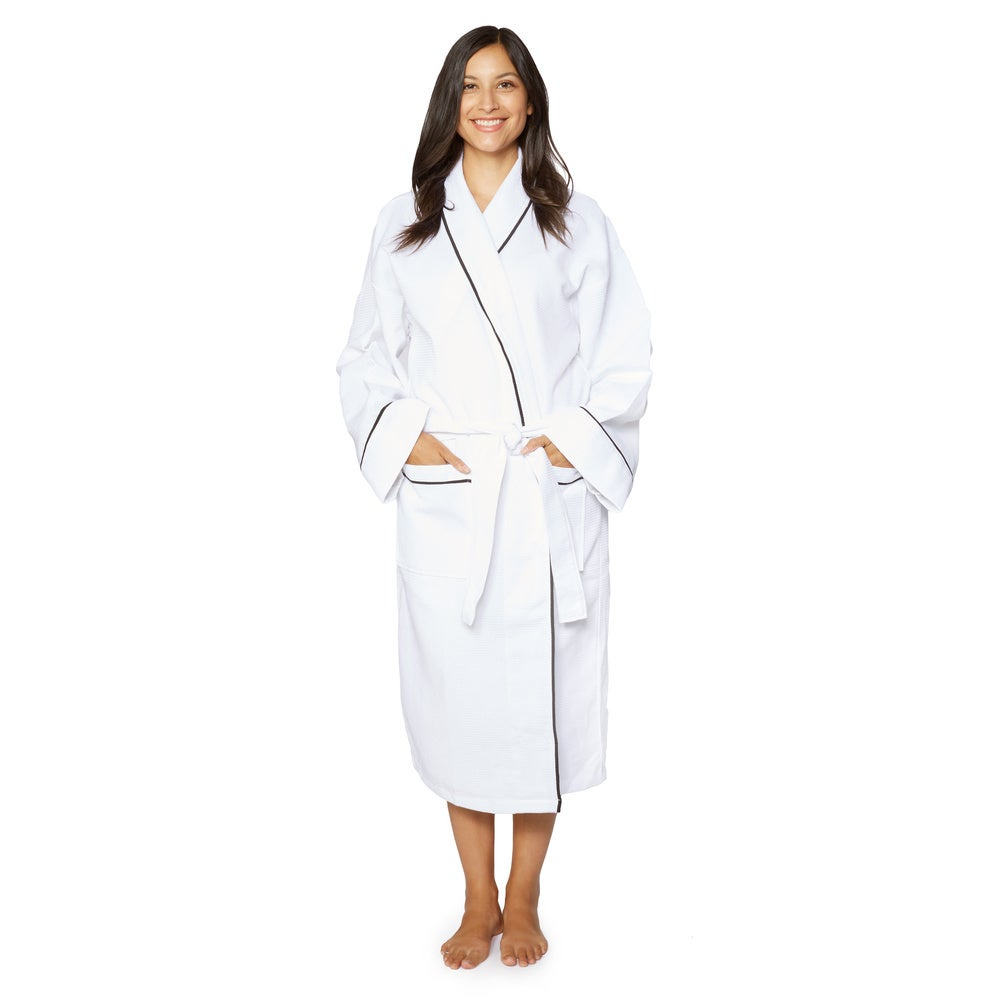 Cotton Unisex Waffle Weave Bath Robe with Stylish Piping $28.99