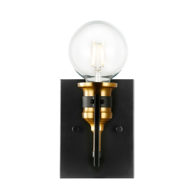 Frerichs 1 - Light Dimmable Black/Gold Armed Sconce $48.99