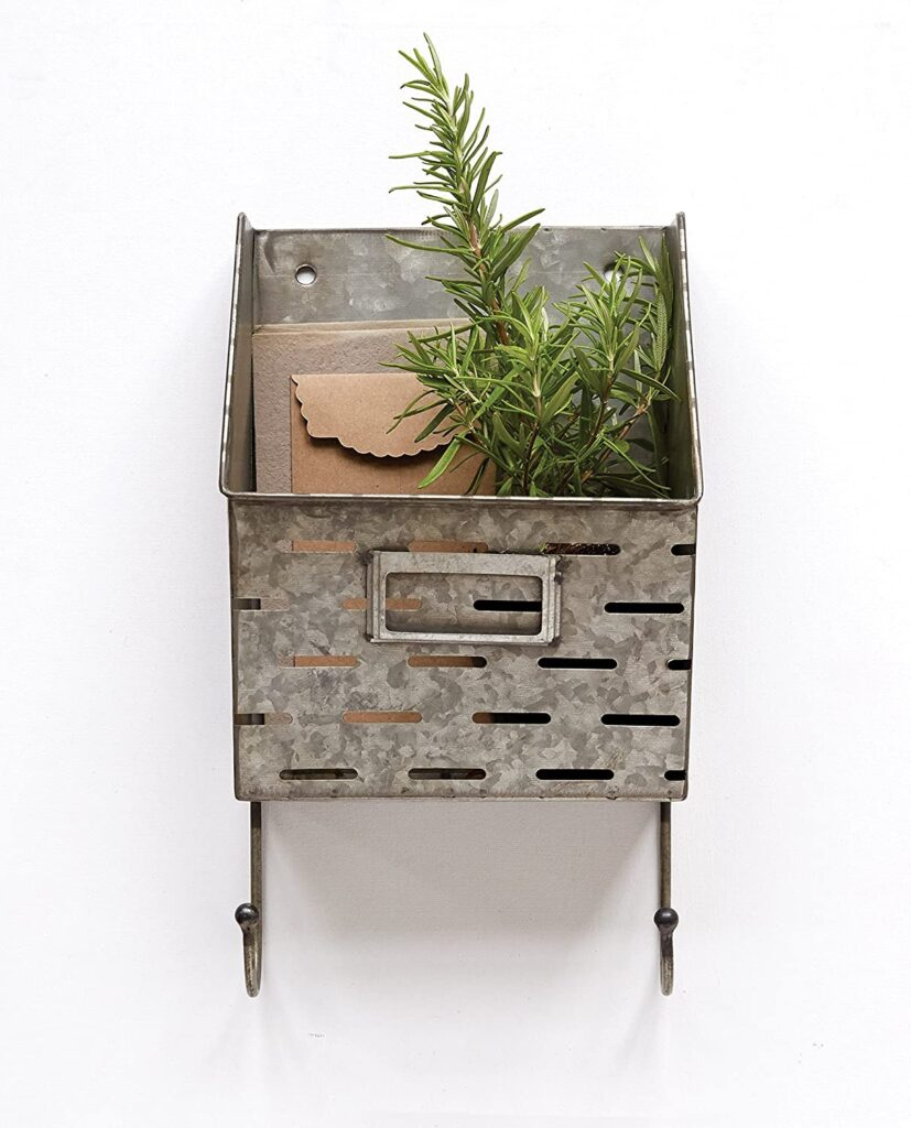 Creative Co-op Metal Wall Basket with 2 Hooks $18.97