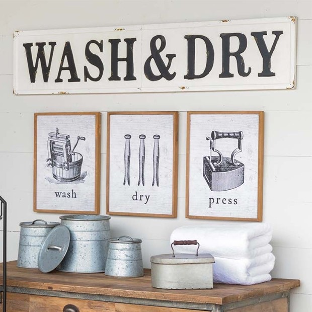 EMBOSSED METAL WASH AND DRY SIGN $68.00