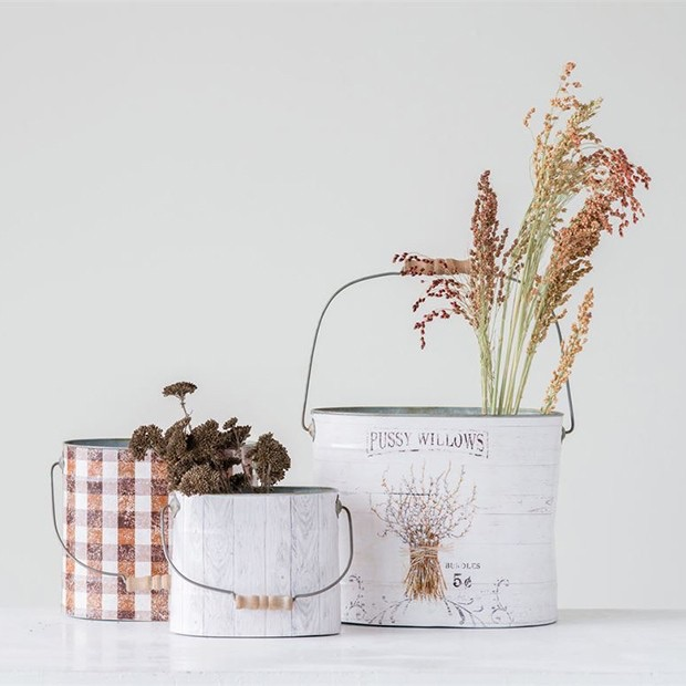 DECORATIVE BUCKETS WITH WOOD HANDLES, SET OF 3 $50.00