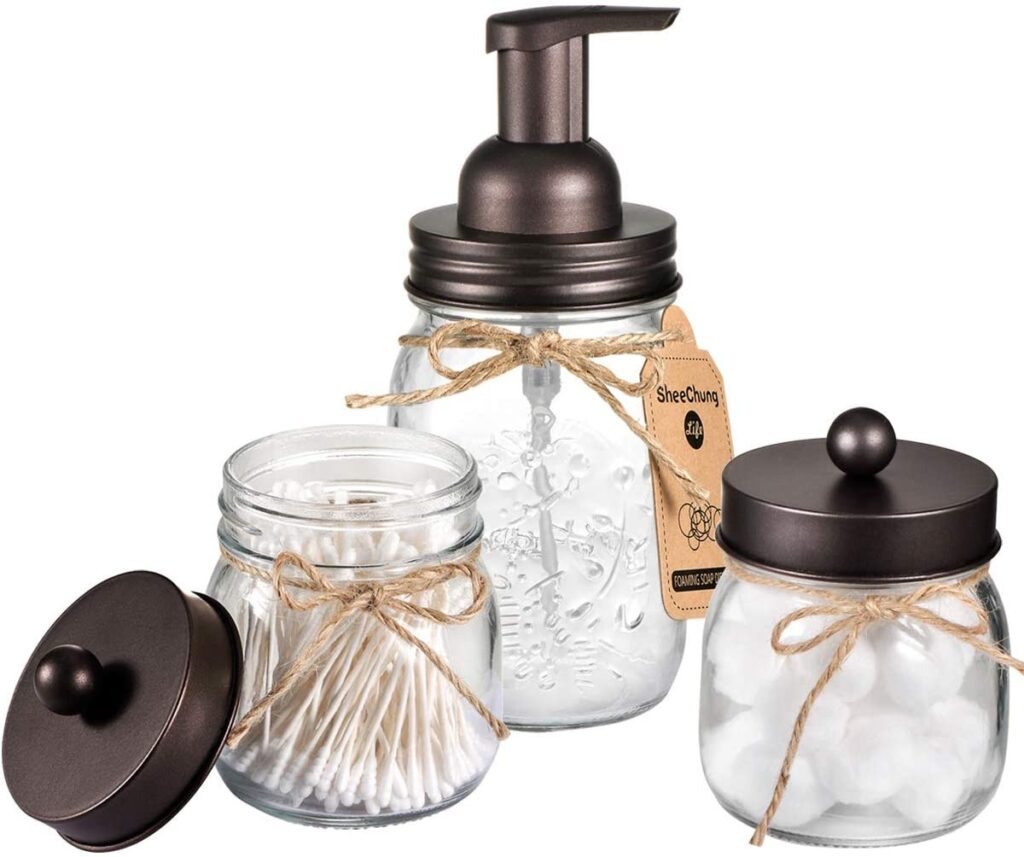 Rustic Farmhouse Decor Apothecary Jars Bathroom Countertop and Vanity Organizer $19.79