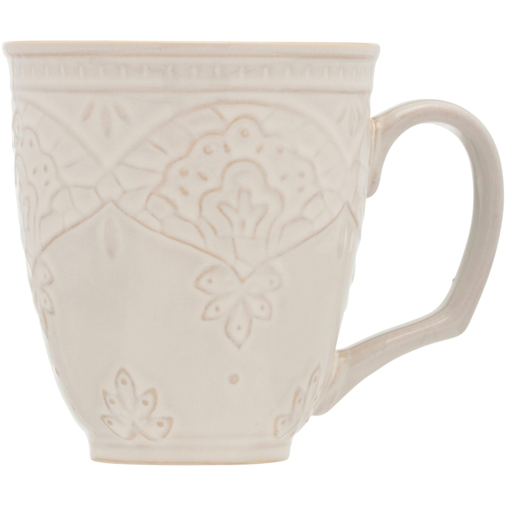 The Pioneer Woman Farmhouse Lace 4-Piece 17-Ounce Mug Set, Off White $15.98