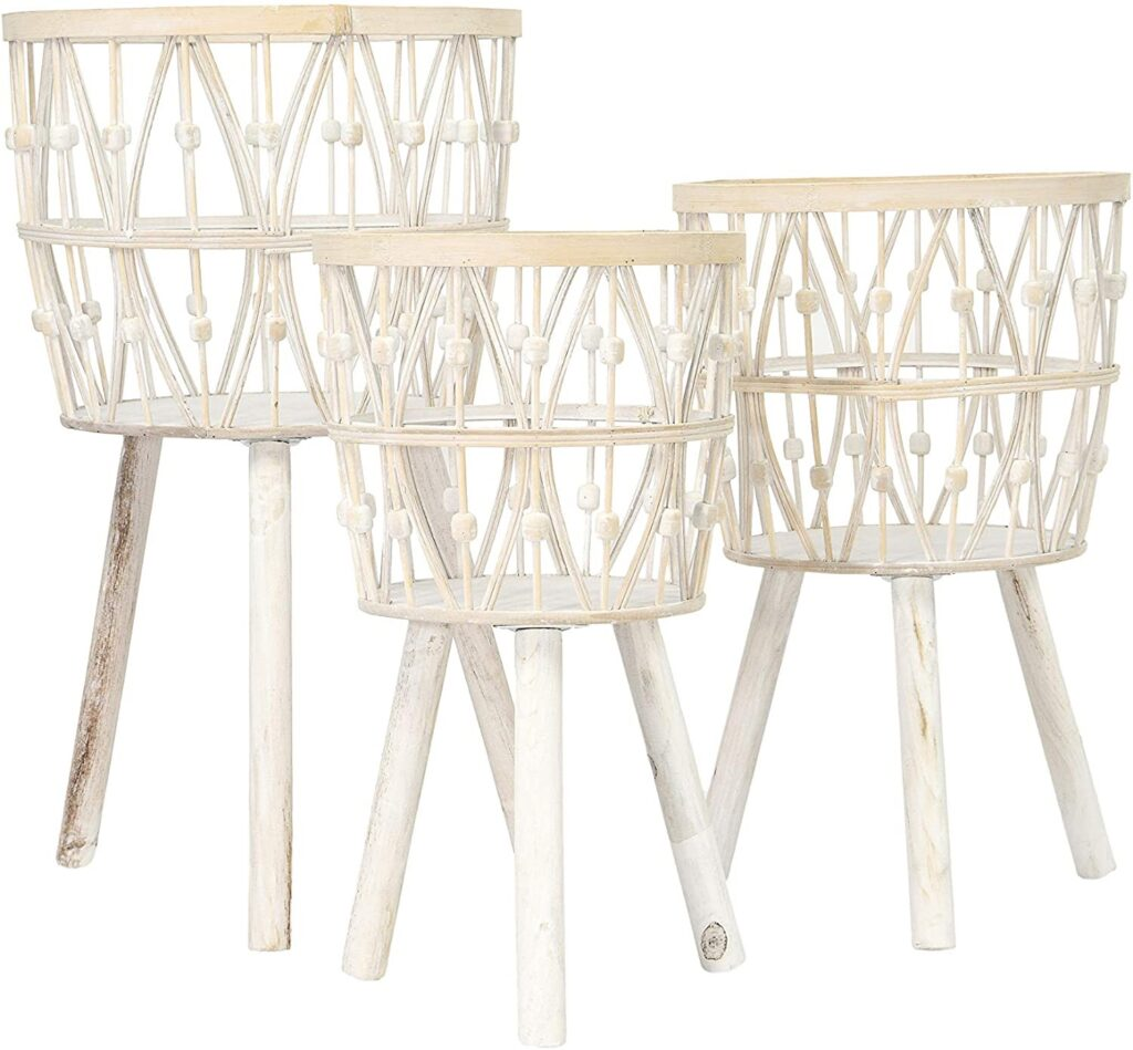Bamboo Wood Legs & Whitewashed Finish (Set of 3) $111.42