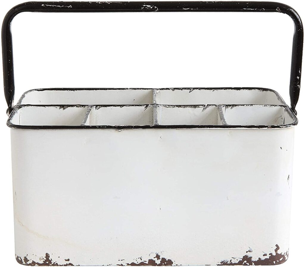 Creative Co-Op Distressed Metal Caddy Enamel Finish with Black Rim $27.04