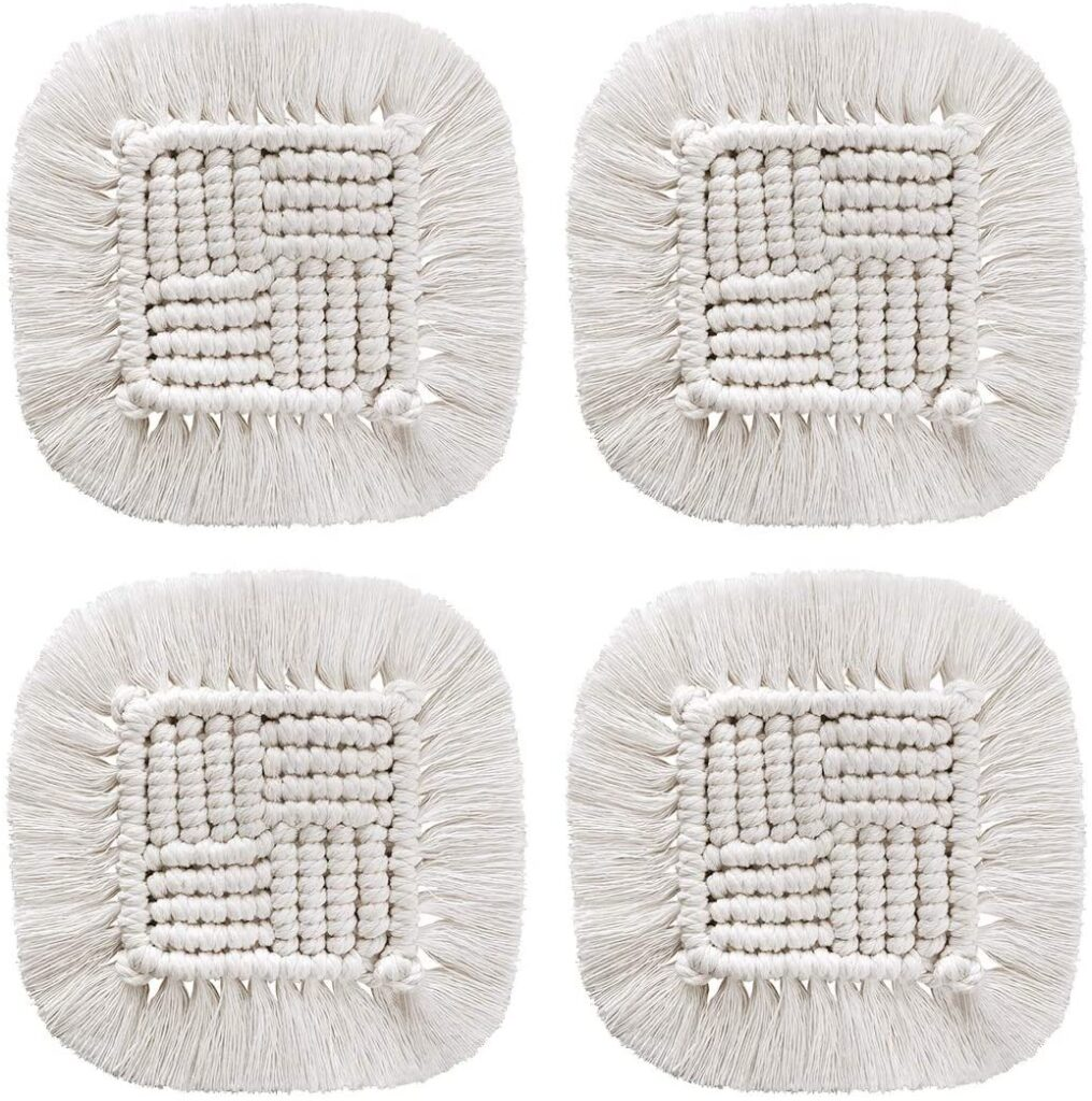 Macrame Coasters for Drinks - 4Pcs Handmade Absorbent Coasters, Boho Woven Square Cup Mat with Tassel $13.99